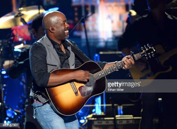 Singer Darius Rucker performs onstage during the 49th Annual Academy of Country Music Awards at the MGM Grand Garden Arena on April 6 2014 in Las...