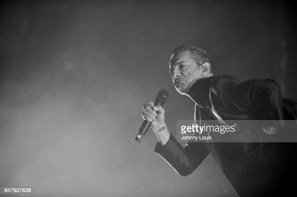 Singer Dave Gahan of Depeche Mode performs during the Global Spirit Tour at American Airlines Arena on September 15 2017 in Miami Florida