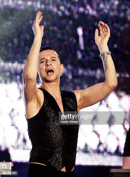 Singer Dave Gahan of the rock band Depeche Mode performs on Jimmy Kimmel Live at Hollywood and Vine on April 23 2009 in Los Angeles California