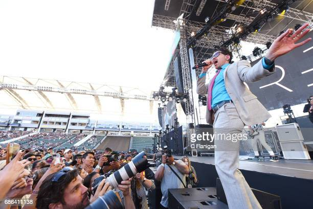 Singer Davey Havok of Dreamcar and AFI performs during the 2017 KROQ Weenie Roast Y Fiesta at StubHub Center on May 20 2017 in Carson California