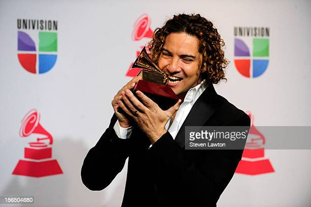 Singer David Bisbal arrives at the press room for the 13th annual Latin GRAMMY Awards held at the Mandalay Bay Events Center on November 15 2012 in...