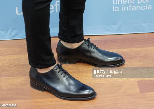 Singer David Bisbal shoes detail attends the 'UNICEF ambassador' press conference at UNICEF office on April 19 2017 in Madrid Spain