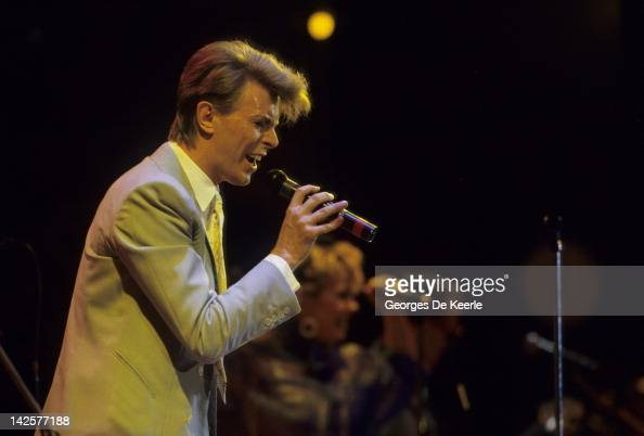 Singer David Bowie performs at the Live Aid concert at Wembley Stadium in London 13th July 1985 The concert raised funds for famine relief in Ethiopia