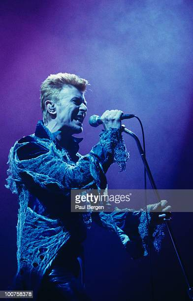 Singer David Bowie performs on stage at the Ahoy in Rotterdam during the Outside tour on July 16 1996
