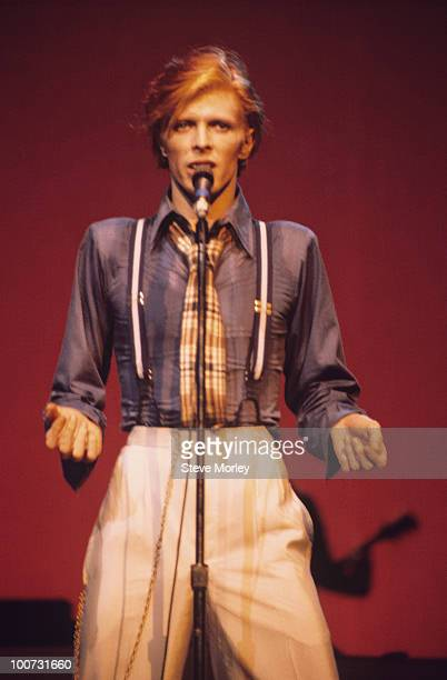 Singer David Bowie performs on stage at the Radio City Music Hall in New York City during the Philly Dogs tour in October 1974