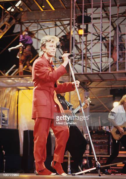 Singer David Bowie performs on stage during the Glass Spider tour at Wembley Stadium in London England in June 1987