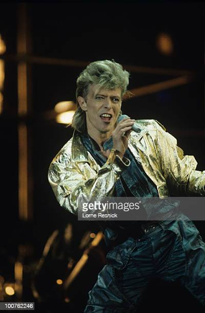 Singer David Bowie performs on stage during the Glass Spider tour in 1987