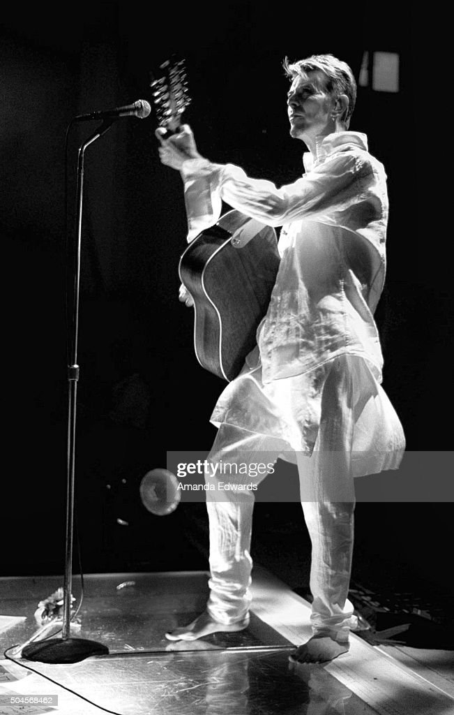 Singer David Bowie performs onstage at Shepherds Bush Empire on August 12 1997 in LONDON England