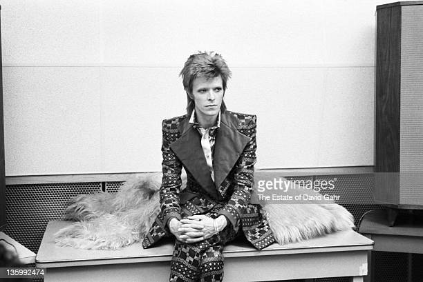 Singer David Bowie poses for a portrait at RCA Studios in January 1973 in New York City New York