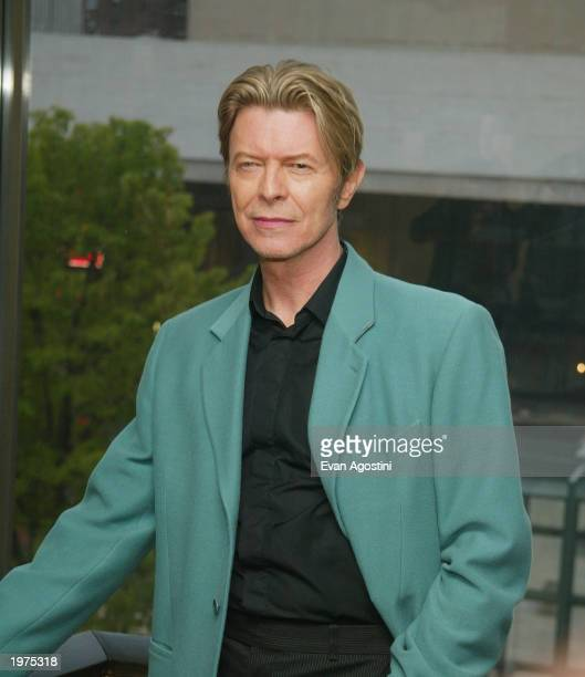 Singer David Bowie stands backstage at The Film Society of Lincoln Center's Tribute to Susan Sarandon at Avery Fisher Hall May 5 2003 in New York City