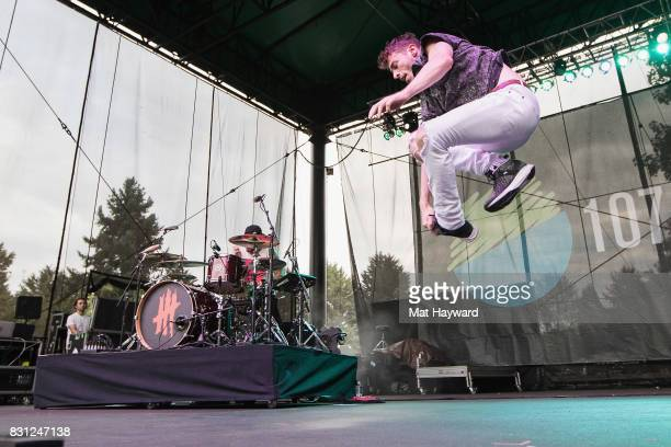 Singer David Boyd of New Politics break dances on stage during the Summer Camp music festival hosted by 1077 the End at Marymoor Park on August 13...