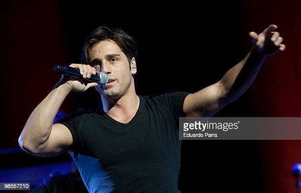 Singer David Bustamante and performs during a concert at the Lope de Vega Theatre on April 19 2010 in Madrid Spain