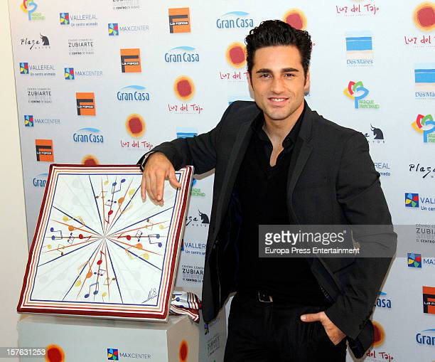 Singer David Bustamante designs a charity scarf for 'Charity Fashion' campaign on December 4 2012 in Madrid Spain