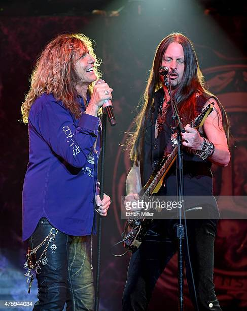 Singer David Coverdale and guitarist Reb Beach of Whitesnake perform at The Joint inside the Hard Rock Hotel Casino as the band tours in support of...