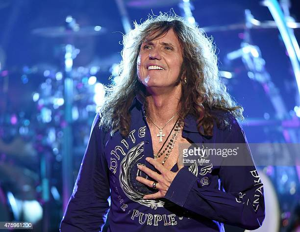 Singer David Coverdale of Whitesnake performs at The Joint inside the Hard Rock Hotel Casino as the band tours in support of 'The Purple Album' on...