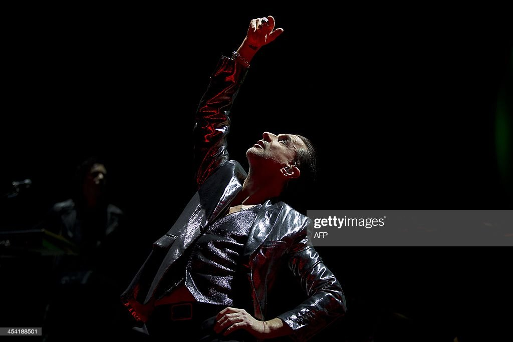 Singer David Gahan of British band Depeche Mode performs during a concert at the Ziggo Dome in Amsterdam, the Netherlands, on December 7, 2013.
