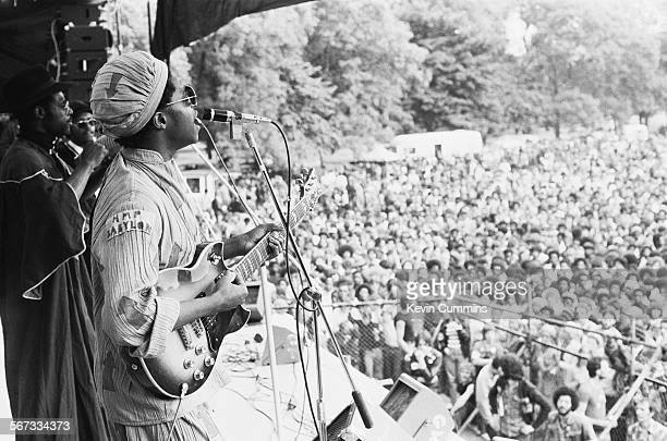 Singer David Hinds performing with English roots reggae band Steel Pulse at the Northern Rock Against Racism Festival in Alexandra Park Manchester...