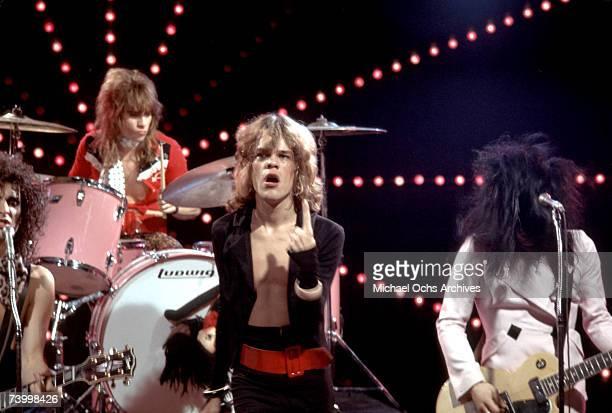 Singer David Johansen guitarist Johnny Thunders drummer Jerry Nolan and guitarist Sylvain Sylvain of the rock and roll group 'The New York Dolls'...