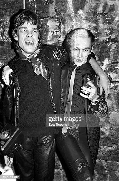 Singer David Johansen of the New York Dolls and guitarist Bryan Gregory of The Cramps at a Nico show at CBGB's in New York City on February 19 1979