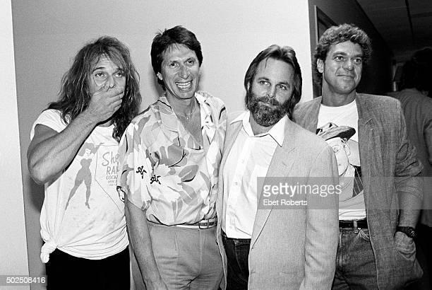 Singer David Lee Roth of Van Halen with comedian David Brenner Carl Wilson of the Beach Boys and comedian Joe Piscopo on David Brenner's radio show...