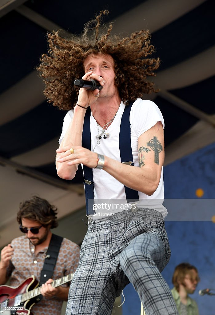 Singer David Shaw of The Revivalists performs onstage during the 2016 New Orleans Jazz Heritage Festival at Fair Grounds Race Course on April 29 2016...