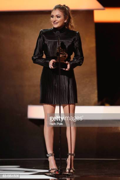 Singer Daya accepts the Best Dance Recording award for 'Don't Let Me Down' onstage at the Premiere Ceremony during the 59th GRAMMY Awards at...