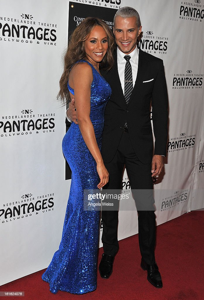 Singer Debaorah Cox and TV personality Jay Manuel arrive at the opening night of 'Jekyll & Hyde' held at the Pantages Theatre on February 12, 2013 in Hollywood, California.