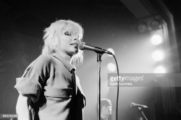 Singer Debbie Harry of American band Blondie performs on stage at King George's Hall in Blackburn on February 23 1978