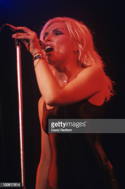 Singer Debbie Harry of Blondie performs on stage at the Hammersmith Odeon in London England on September 16 1978 Photo by David Redfern/Redferns