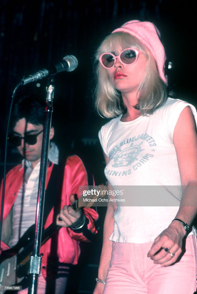 Singer Debbie Harry of the New Wave pop group 'Blondie' performs onstage in February 1977 in Los Angeles, California.