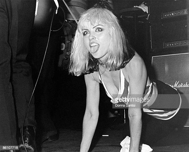 Singer Debbie Harry performing with American pop group Blondie at the Whisky a Go Go nightclub in West Hollywood California 1977