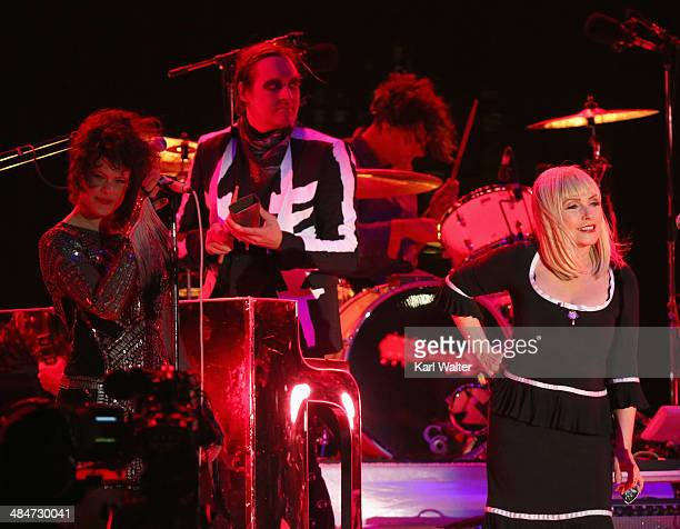 Singer Debbie Harry performs with musician Regine Chassagne of Arcade Fire onstage during day 3 of the 2014 Coachella Valley Music Arts Festival at...