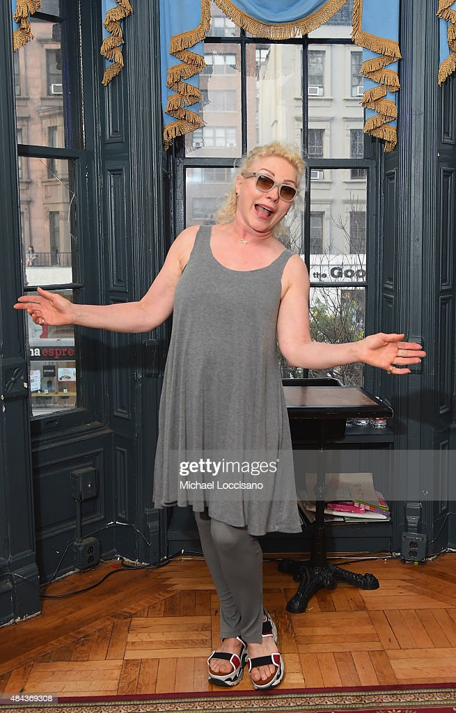 Singer Debbie Harry poses before taking part in Celebrity Autobiography at Stage 72 on August 17 2015 in New York City