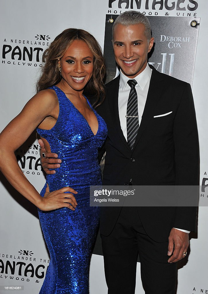 Singer Deborah Cox and TV personality Jay Manuel arrive at the opening night of 'Jekyll & Hyde' held at the Pantages Theatre on February 12, 2013 in Hollywood, California.