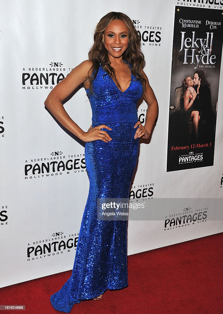 Singer Deborah Cox arrives at the opening night of 'Jekyll & Hyde' held at the Pantages Theatre on February 12, 2013 in Hollywood, California.