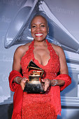 Singer Dee Dee Bridgewater poses backstage during The 53rd Annual GRAMMY Awards PreTelecast held at the Los Angeles Convention Center on February 13...