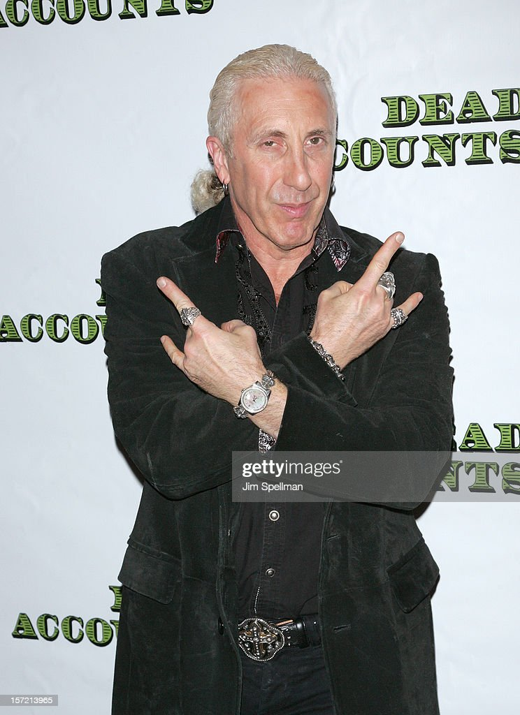 Singer <a gi-track='captionPersonalityLinkClicked' href=/galleries/search?phrase=Dee+Snider&family=editorial&specificpeople=239139 ng-click='$event.stopPropagation()'>Dee Snider</a> attends 'Dead Accounts' Broadway Opening Night at Music Box Theatre on November 29, 2012 in New York City.