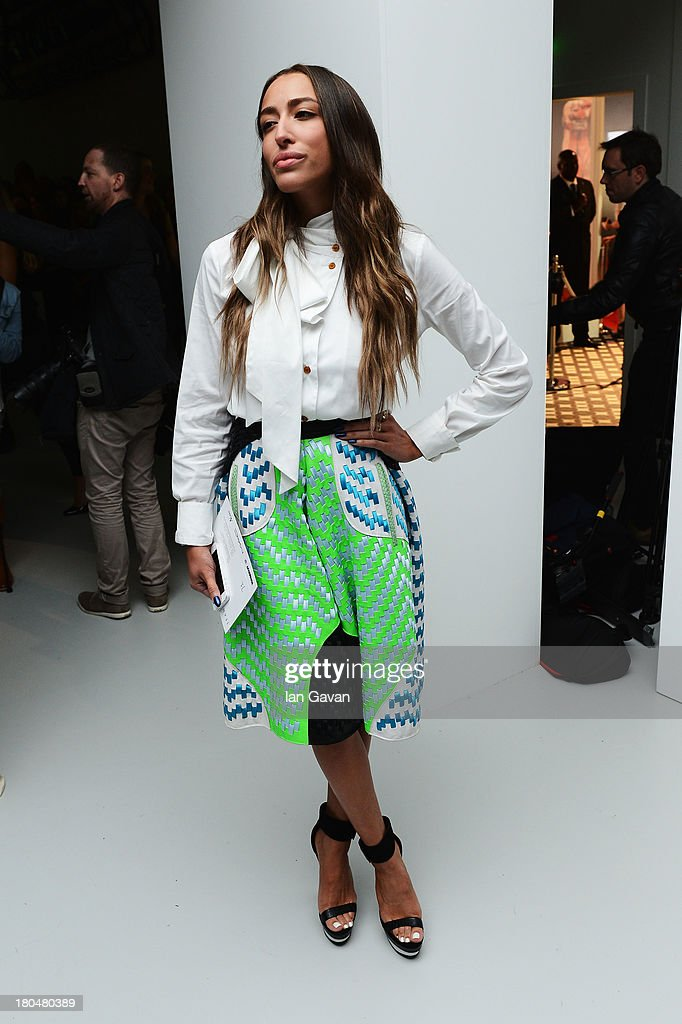 Singer Delilah attends the Jean-Pierre Braganza show during London Fashion Week SS14 at BFC Courtyard Showspace on September 13, 2013 in London, England.