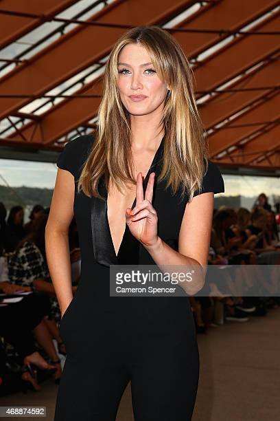 Singer Delta Goodrem arrives at Carla Zampatti's 50th anniversary show at the Sydney Opera House on April 8 2015 in Sydney Australia