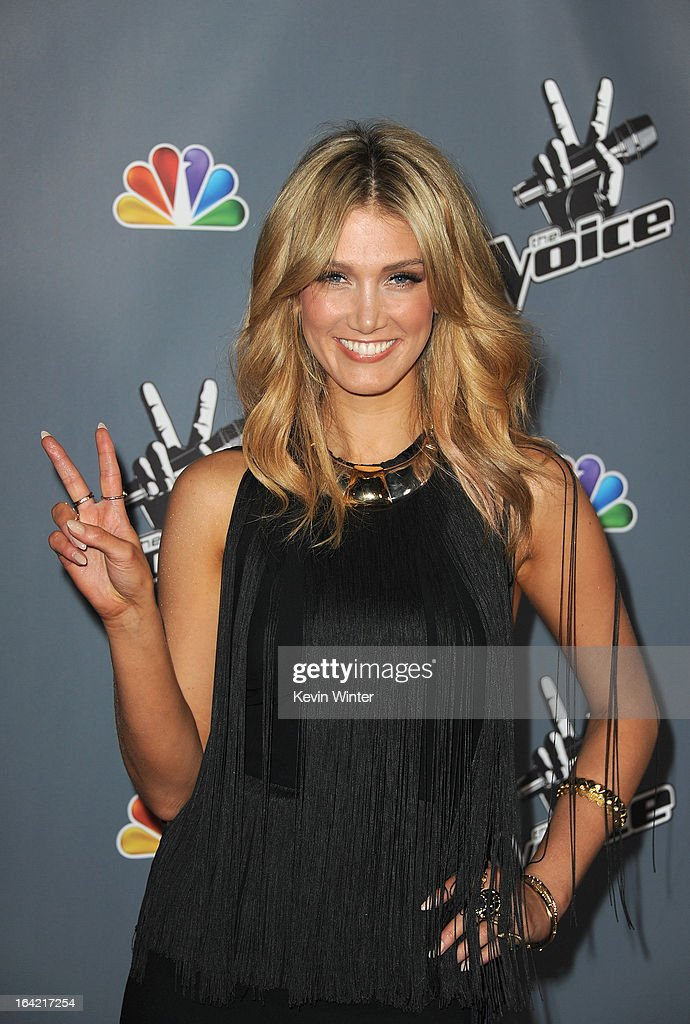 Singer Delta Goodrem arrives at the screening of NBC's 'The Voice' Season 4 at TCL Chinese Theatre on March 20, 2013 in Hollywood, California.