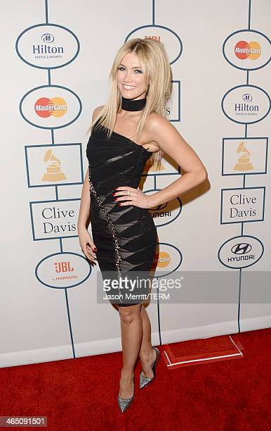 Singer Delta Goodrem attends the 56th annual GRAMMY Awards PreGRAMMY Gala and Salute to Industry Icons honoring Lucian Grainge at The Beverly Hilton...