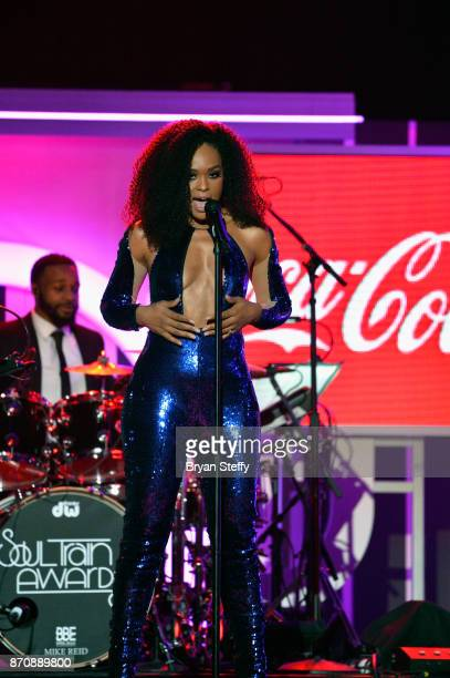 Singer Demetria McKinney performs during the 2017 Soul Train Music Awards at the Orleans Arena on November 5 2017 in Las Vegas Nevada