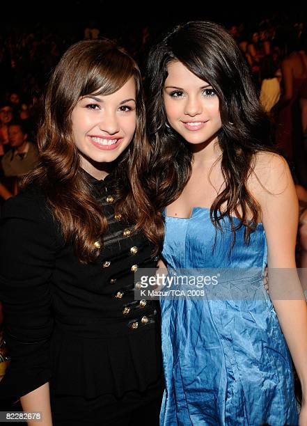 LOS ANGELES CA AUGUST 03 Singer Demi Lovato and actress Selena Gomez during the 2008 Teen Choice Awards at Gibson Amphitheater on August 3 2008 in...