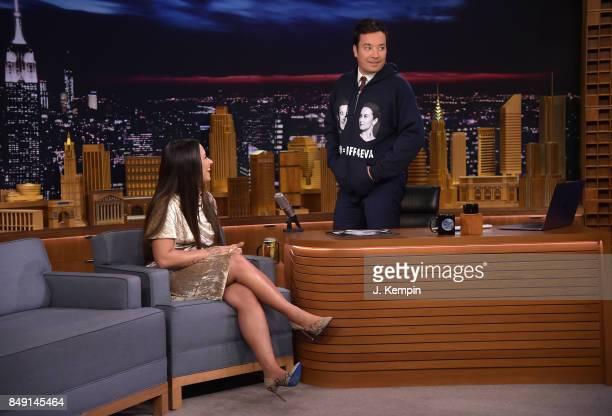 Singer Demi Lovato and host Jimmy Fallon visit The Tonight Show Starring Jimmy Fallon at Rockefeller Center on September 18 2017 in New York City
