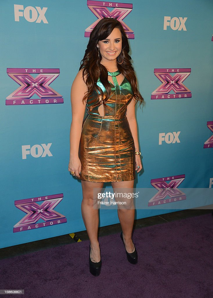 Singer <a gi-track='captionPersonalityLinkClicked' href=/galleries/search?phrase=Demi+Lovato&family=editorial&specificpeople=4897002 ng-click='$event.stopPropagation()'>Demi Lovato</a> arrives at Fox's 'The X Factor' Season Finale - Night 2 at CBS Television City on December 20, 2012 in Los Angeles, California.