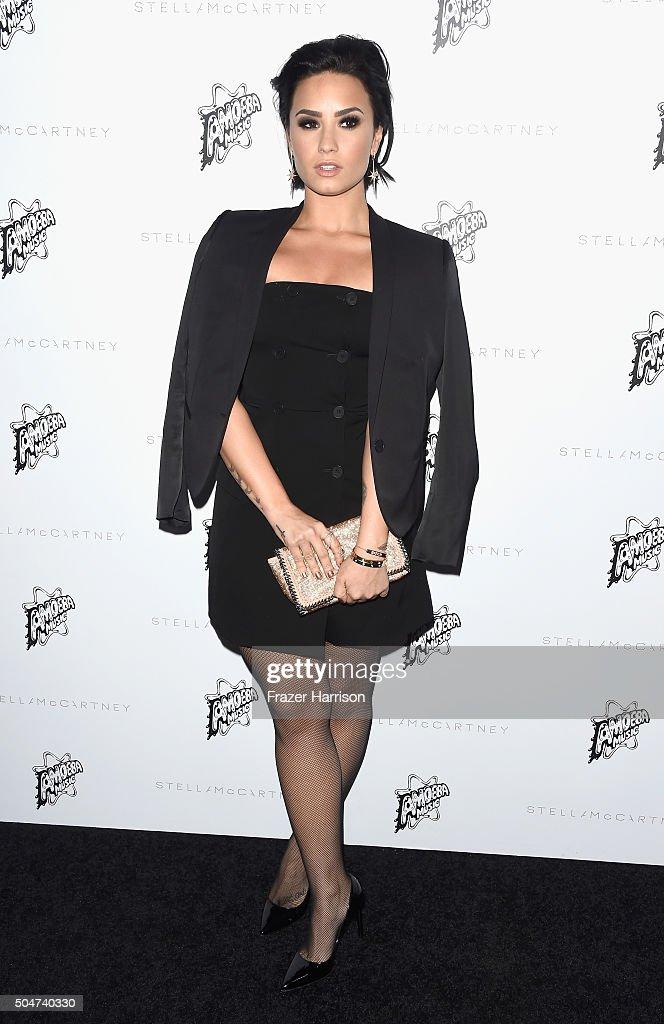 Singer Demi Lovato arrives at Stella McCartney Autumn 2016 Presentation at Amoeba Music on January 12, 2016 in Los Angeles, California.