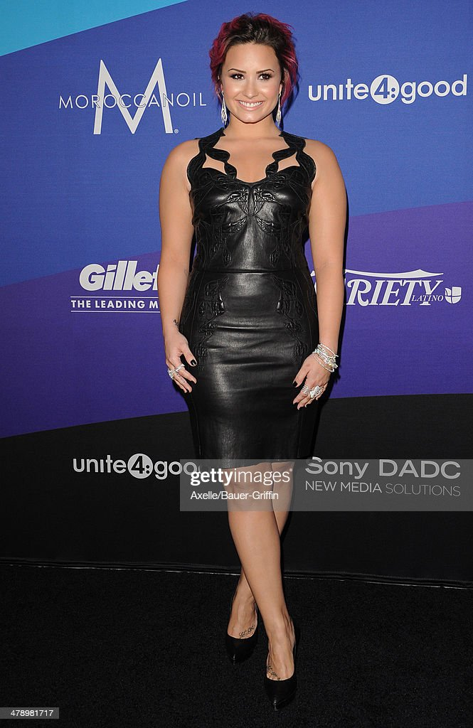 Singer <a gi-track='captionPersonalityLinkClicked' href=/galleries/search?phrase=Demi+Lovato&family=editorial&specificpeople=4897002 ng-click='$event.stopPropagation()'>Demi Lovato</a> arrives at the 1st Annual unite4:humanity event hosted by unite4:good and Variety at Sony Studios on February 27, 2014 in Los Angeles, California.