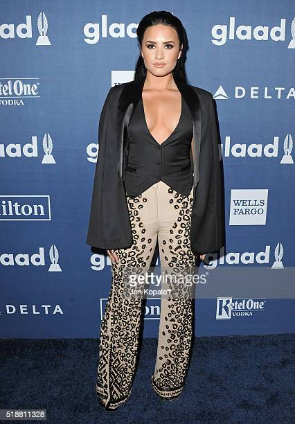 Singer Demi Lovato arrives at the 27th Annual GLAAD Media Awards at The Beverly Hilton Hotel on April 2 2016 in Beverly Hills California