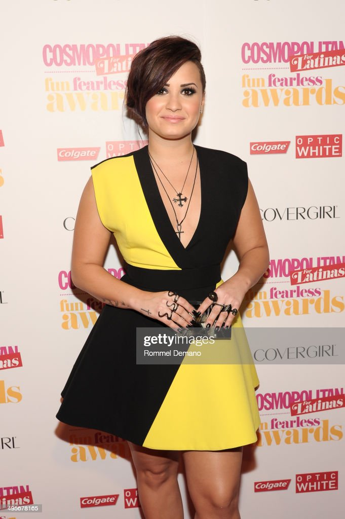 Singer <a gi-track='captionPersonalityLinkClicked' href=/galleries/search?phrase=Demi+Lovato&family=editorial&specificpeople=4897002 ng-click='$event.stopPropagation()'>Demi Lovato</a> attends Cosmopolitan 'Fun, Fearless' Latina Awards at Hearst Tower on June 4, 2014 in New York City.