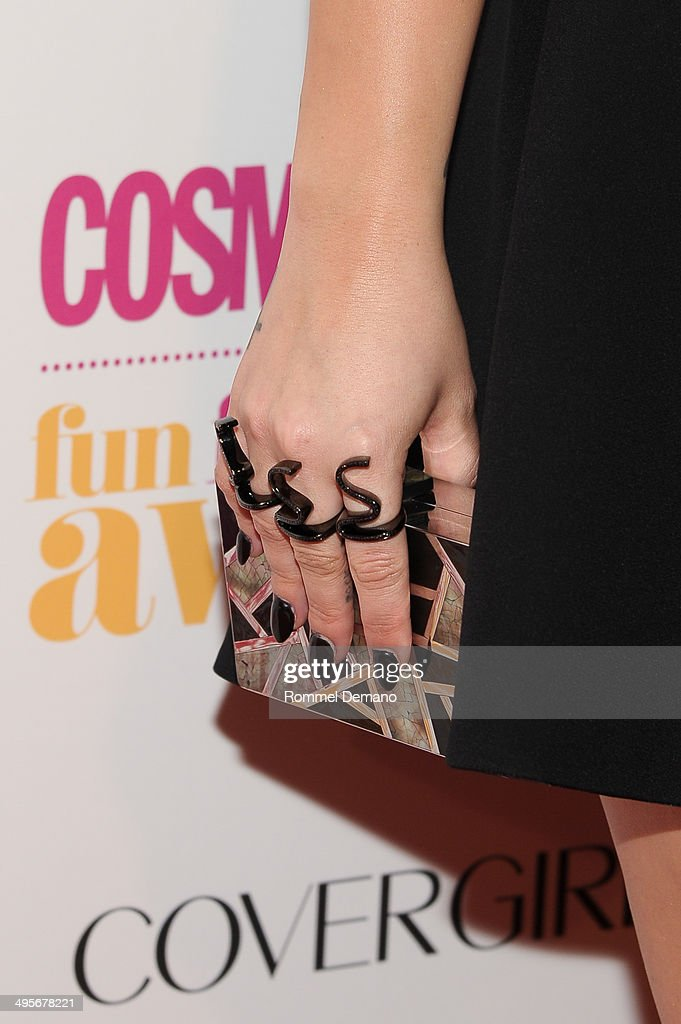 Singer Demi Lovato (bag detail) attends Cosmopolitan 'Fun, Fearless' Latina Awards at Hearst Tower on June 4, 2014 in New York City.